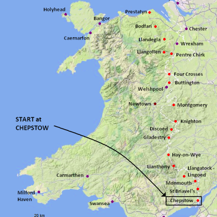 Route of 16 Day along the Anglo-Welsh border -  Itinerary Offa's Dyke