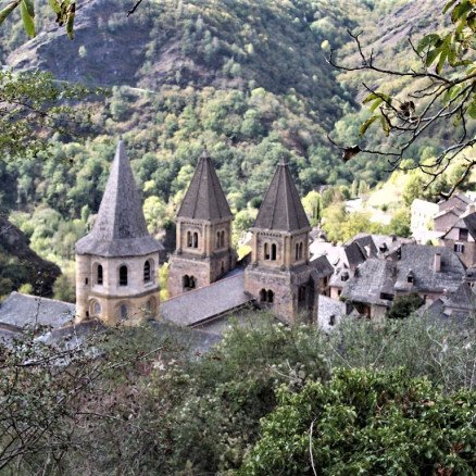 Towers of the Abbey at Conques, the destination of the Le Puy to Conques Pilgrimage