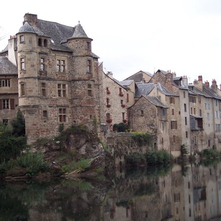 Wonderful medieval buildings at Espalion on the Le Puy to Conques route