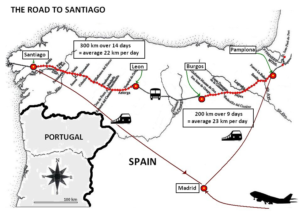 Itinerary Santiago - map showing the transit sites in Spain