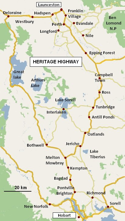 Itinerary Historic Tasmania Map of route