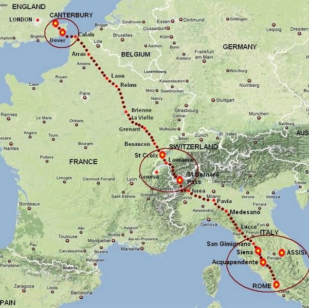 Route of Travelling the Via Francigena - itinerary the Road to Rome